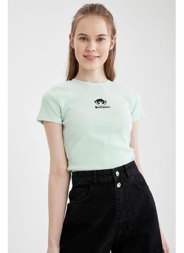 DeFacto Coool Powerpuff Girls LisanslıRelax Fit Crop Tişört Turkuaz